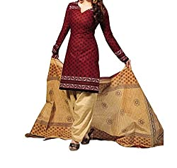 Look Smart Women's Polycoton Unstitched Dress Material (BROWNY CREAM_Multicolor_Free Size)