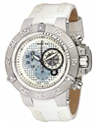 Invicta Men's 10201 Subaqua Noma III Chronograph Silver Perforated Dial White Leather Watch