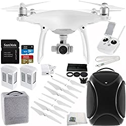 DJI Phantom 4 Quadcopter Drone with Manufacturer Accessories + Extra DJI Intelligent Flight Battery + SanDisk Extreme 32GB microSDHC Memory Card + 6PC Filter Kit (UV-CPL-ND2-400-Lens Hood-Case) + MORE