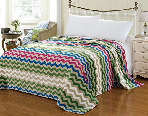 "Euphoria Brand Super Soft Fleece Prints Throw Blanket For Sofa Couch Lounge Bed Bedding Amazing Zigzag Wave King 90"" X 80"" front-994002"