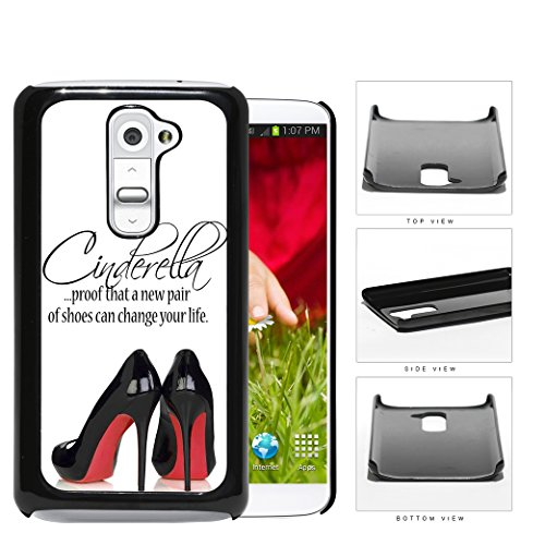 Cinderella Shoes Quote With Black High Heels Red Bottoms Hard Snap On Phone Case Cover Lg G2
