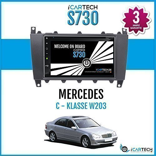 ?ICARTECH 7 Autoradio DVD Player für Mercedes C Klasse W203 Modellpflege, CLC? Das bärenstarke Android 4.1 Radio mit GPS Navigation?Bluetooth?WiFi?Multi-Touch Display?3G?4G? Vorbereitung für: TV (DVB-T) & Digital Radio (DAB+), Dash-Cam (DVR), Apps-Erweiterung wie z.B. GooglePlay, Blitzer.de, Clever Tanken, TuneIn Radio u.v.m, inklusive Wifi Mirroring: iPhone Display Spiegelung + Airplay (ab 4S), Navigationssystem. - S730