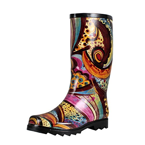 West Blvd Rainboots Comfort Rain-Boots, Monet Rubber, 9