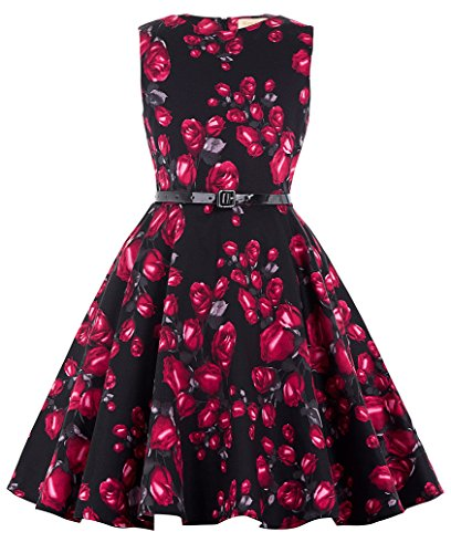 Girl's Vintage Floral Sleeveless Retro High Waist Birthday Dresses 4# 11~12 Yrs (Teenagers Clothes compare prices)