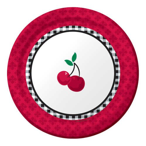 Creative Converting Cherry Gingham Round Dessert Plates, 8 Count