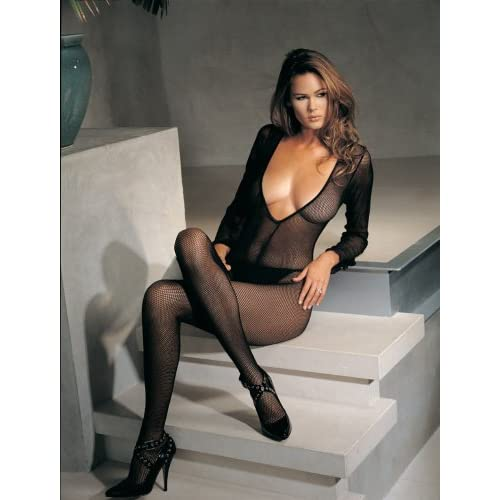 Deep V Front Long Sleeved Fishnet Bodystocking