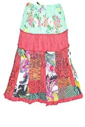 Indiatrendzs Fashion Skirts Women Red Green Cotton Printed Summer Long Skirt