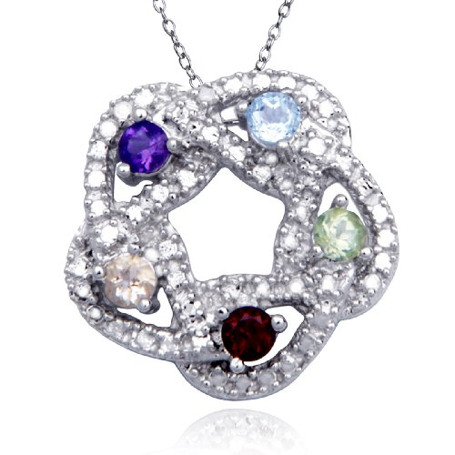 Sterling Silver Multi-Gemstone and Diamond Circle Pendant Necklace, 18