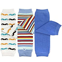 Bowbear Baby 3-Pair Leg Warmers, Moustache Mania