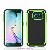 Samsung Galaxy S6 Edge Case, Sophia Shop Samsung Galaxy S VI 6 Edge 2015 [Shock Proof] [Anti-Slip] [Scratch Resistant] Durable Tough High Impact Hybrid Hard Shell with Soft Black TPU Cover Rugged Case, Heavy Duty Hybrid Armor Case Soft Black Silicone Cover Case for Samsung Galaxy S6 Edge Carrier Compatibility Verizon, AT&T, T-Mobile, Sprint, International Carriers. (Not Compatible with Galaxy S6.) (Fruit Green)