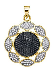 0.6 cttw 10k Yellow Gold Black Diamond and White Diamond Pendant Comes With 18