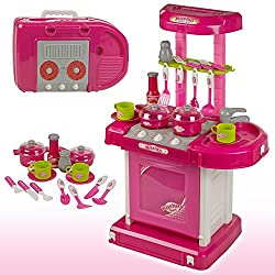 Zest 4 Toyz Kitchen Set Kids Luxury Battery Operated Kitchen Super Set Toy With Light And Sound Carry Case