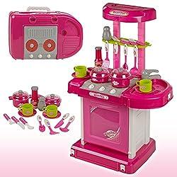 Zest 4 Toyz Kitchen Set Kids Luxury Battery Operated Kitchen Super Set Toy With Light And Sound Carry Case