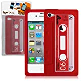 Tigerbox Retro Silicone Cassette Tape Style Case Cover Skin For Apple iPhone 4 / 4S With Screen Protector (Red)