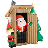 inflatable xmas santa:Santa Claus Outhouse six 7/10 foot Tall xmas Inflatable