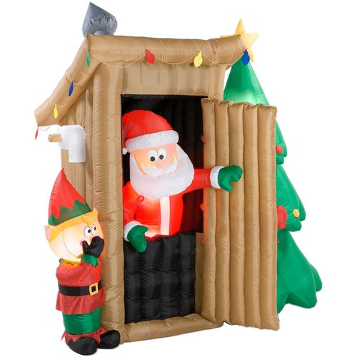 inflatable xmas santa:Santa Claus Outhouse six 7/10 foot Tall xmas Inflatable Images