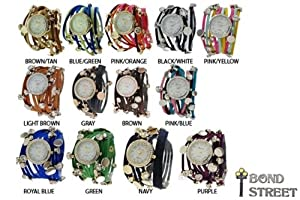 Wholesale Lot of 10 Leather Strand Charm Wrap Around Geneva Watch 9565