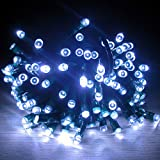 11m Waterproof 60 LED Solar Fairy Lights  White  Garden Xmas Party