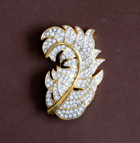 Fashion Large Rhinestone Leaf Brooch Pin