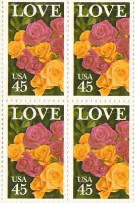 LOVE Roses Set of 4 x 45 Cent US Postage Stamps NEW Scot 2379