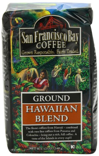 San Francisco Bay Coffee Ground Hawaiian Blend Coffee, 12-Ounce Bags (Pack of 3)