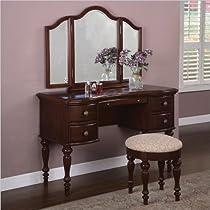 Hot Sale Powell Marquis Cherry Vanity, Mirror & Bench