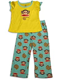 Paul Frank - Little Girls Short Sleeve Monkey Pajamas, Yellow, Aqua 28826-4T
