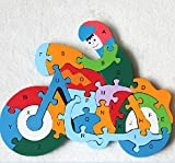 HSE Children's Cognitive wooden Jigsaw Puzzle Three-Dimensional Jigsaw Puzzle Enlightenment 2-4 Years Old Baby Preschool Educational Toy Building Blocks Also As a Christmas and Birthday Gift- Motorcycle
