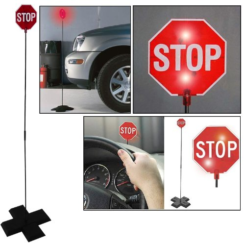 2 Auto Sensor Flashing Led Light Parking Assist Stop Sign For Garage Park & Stop Signal With Stand Combo