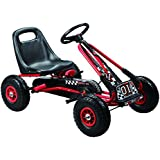 Kids pedal go-kart ride-on car, adjustable seat, rubber wheels, red