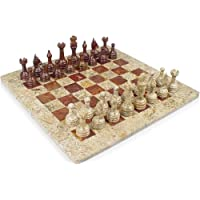 Classic Coral Stone and Red Marble Chess Set - 3 King