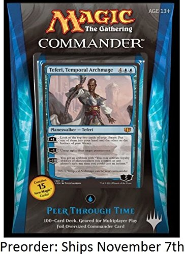 """Magic The Gathering (Mtg) Commander 2014 - Blue """"Peer Through Time"""" Deck With Teferi, Temporal Archmage Planeswalker"""