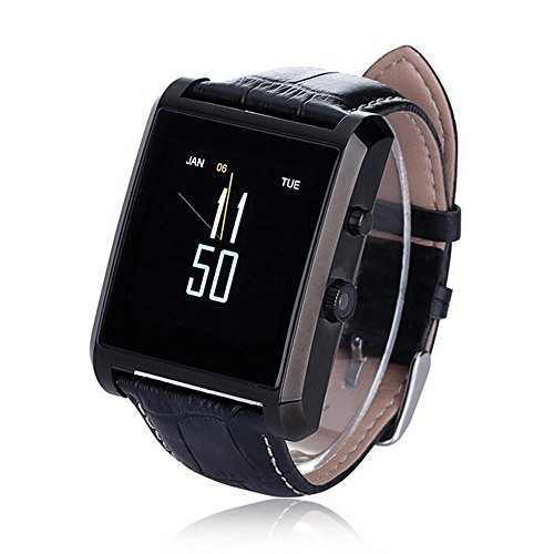 """Generic Smart Watch Dm08 Deluxe Edition Calfskin Belt Waterproof 1.55"""" 1.3mp Bluetooth 4.0 Wristwatch with Full Hd IPS Display for Android & IOS (Iphone) with Camera Recorder Pedometer (Black)"""