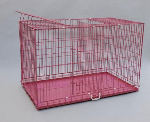 "Best Pet Pink 49"" Triple-Door Suitcase Style Folding Metal Dog Crate With Metal Pan - 49""(L) X 29""(W) X 32""(H)"