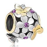 JewelryHouse Butterfly Imitation Birthday Crystal Flower Bead Charms for Bracelet (Feb)