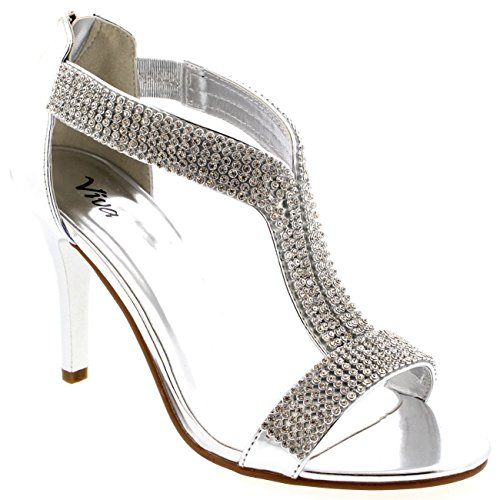 Womens T-Bar Bride Diamante Party Metallic Wedding Silver Prom Sandals - Silver - 7 - 38 - CD0163D