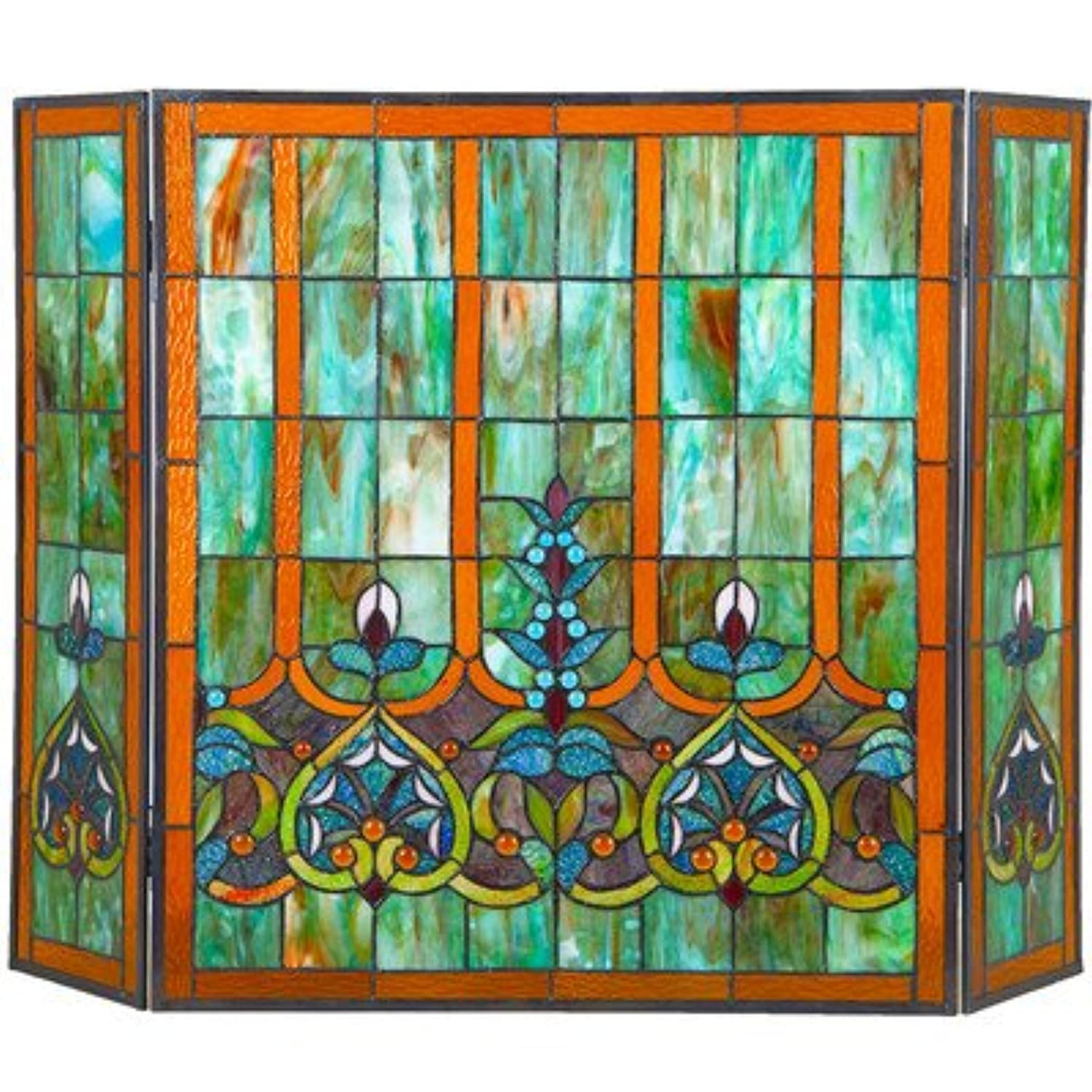 3 Panel Stained Glass Fireplace Screen EverAfterGuide