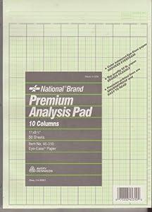 45310 -2 Pack National Brand Premium Analysis Accounting Pads 10 Columns 11 x 8 1/2