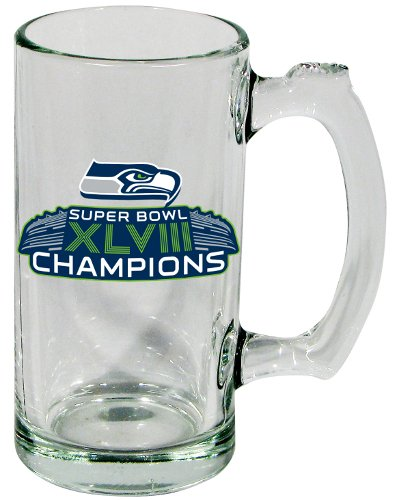 Super Bowl XLVIII 48 Champs Seattle Seahawks Clear Beer Mug at Amazon.com