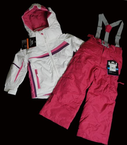 Girls Trespass Waterproof Breathable Thermal Ski Suit Jacket Salopettes White Pink Age 3 4 5 6 7 8 9 10