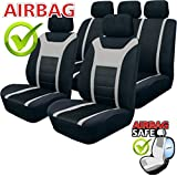 SB201 - Qualität Auto Sitzbezug Sitzbezüge Schonbezüge Schonbezug mit Seitenairbag Schwarz / Grau