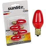 Sunlite 7C7/R/CD4 Incandescent 7-Watt, Candelabra Based, C7 Night Light Colored Bulb, Red, 4 Pack