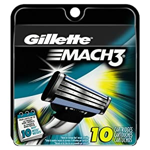 Gillette Mach3 Base Cartridges 10 Count (packaging may vary)