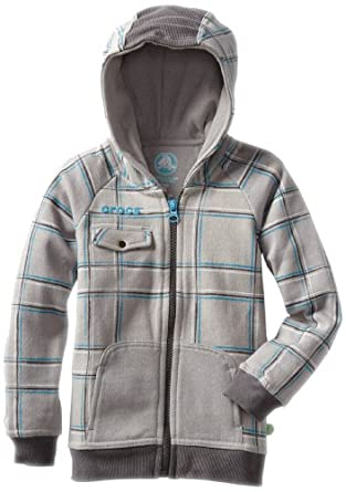 CROCS Boys 2-7 Printed Zip Hoodie, Light Grey/Black, 2T