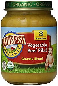 Earth's Best Organic Baby Food, Vegetable Beef Pilaf, 6 Ounce (Pack of 12)