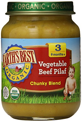 Earth's Best Organic Stage 3, Vegetable & Beef Pilaf, 6 Ounce Jar (Pack of 12)