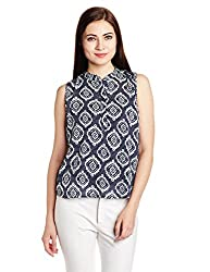 Chemistry Women's Body Blouse Shirt (C16-603WTTOP_Navy and White_Small)