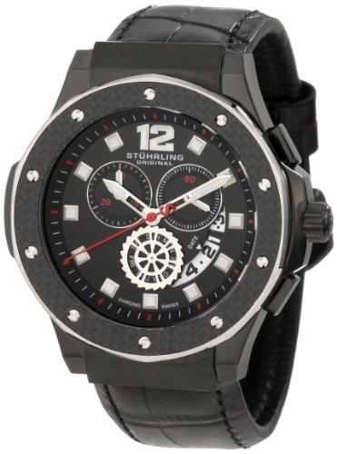 Stuhrling Original Men's 160F2.33551 Apocalypse Trinity Chronograph Black Ion-Plated Leather Watch