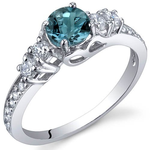 Peora Enchanting 0.50 Carats London Blue Topaz Ring in Sterling Silver Rhodium Finish Size J to R