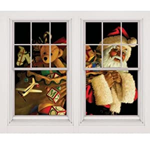 Santa Claus With Toy Sack Window Decorations Double Window Design by Wowindows